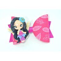 Flower fairy pink leaves fabric felt and pink glitter vinyl hair bow accessory rose gold clip black hair wings faerie blue flower - Fairy Gifts
