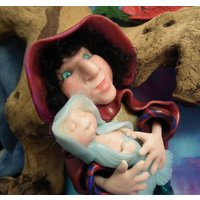Ravenhaired Mermaid Matron Audri with Merbaby 6 Art Doll OOAK Sculpt by Sculpture Artist Ann Galvin - Artist Gifts