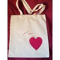 Heart bag, heart gift, love heart bag, love gift, book lover gift, cotton tote bag, book bag, canvas shoulder bag, school bag, lover gift - Shoulder Bag Gifts
