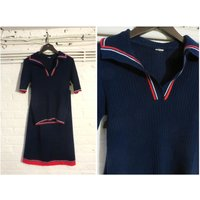 1970s vintage navy blue knit jersey set ( polo shirt top and skirt )  UK 8 EU 36 US 6  Hipster Preppy Varsity Golf - Polo Gifts