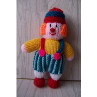 Clown, Colourful Hand Knitted Soft Toy , handmade clown, multi coloured toy, small clown - Soft Toy Gifts