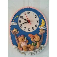 Beautiful Vintage Child or Adults, Ceramic, Teddy Bears on a Hammock  Under the Moon and Stars Wall Clock. - Teddy Bears Gifts