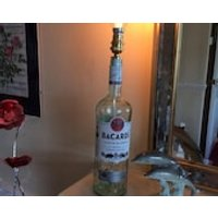 Decorative 1litre Bacardi Rum Bottle Table or Desk Top Lamp including Antique Squirrel Cage Bulb - Bacardi Gifts