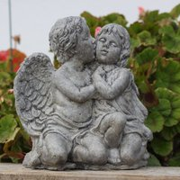 Kissing Angel Cherubs, Stone Garden Ornament, Lawn Decor,  Made in Cornwall, Cornwall Stoneware, Home and Living, Gift Idea - Garden Gifts