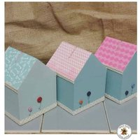 Little house shaped money box  Wooden money box  Coloured little house - Money Gifts
