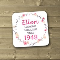 Personalised 70th Birthday Coaster, 1948 Coaster, 70 Gift, Birthday Gift, Year of Birth, Birthday Milestone Gift - 70th Birthday Gifts