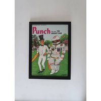 Vintage Framed Cricket Front Cover, Old Fashioned Satire Poster, Frame Wall Bar Decor Man Cave, Unique Sentimental Gift Him Her Grand Dad - Sentimental Gifts