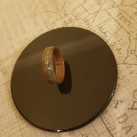 Figured Walnut Bentwood Ring with Offset Crushed Turquoise Inlay  American Walnut  Handcrafted UK  Custom Size  Real Wood  Real Stone - Custom Gifts