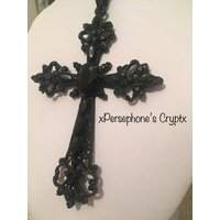 Gothic Ornate Black Vampire Crucifix Necklace - Vampire Gifts