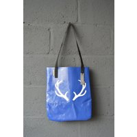 UK Handmade Upcycled Salvaged Bouncy Castle PVC Navy  White Blue Christmas Antlers Tote Bag - Bouncy Gifts