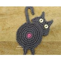 Crochet Cat Butt Coaster  funky, novelty, handmade, coaster,table decoration, house warming, teacher gift, home decor. - Warming Gifts