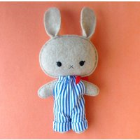 Cute kawaii cashmere bunny in dungarees gift soft toy - Soft Toy Gifts