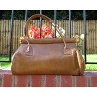 Vintage Garfield Of London Caramel Leather Large Handbag 1960s Kelly Bag Designer Bag - Garfield Gifts