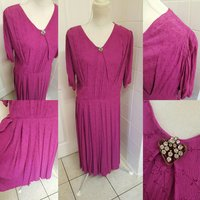 1940s Raspberry Pink Volup dress with stunning attached brooch - Seek Gifts