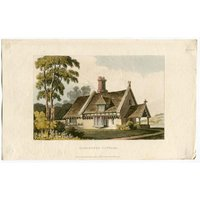 Garden Architecture Print, A Gardeners Cottage by John Papworth, Architect, and Artist Published by R. Ackermann 1821 Hand Coloured Aquatint - Artist Gifts