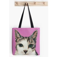 Pink  Tabby Cat  Cat Lover  Tote Bag  Handbag  Shopping Bag  Shoulder Bag  Cotton Canvas  Kirstin Wood Artist  Original Art - Artist Gifts