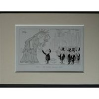 1950s Antique Mounted Satirical Cartoon Print of the Statue of Liberty by German Cold War Era Artist Oskar (Hans Bierbrauer) - Artist Gifts