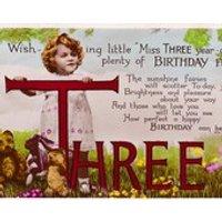 Vintage 3rd Birthday Postcard  Little Girl With Teddy Bears - Teddy Bears Gifts