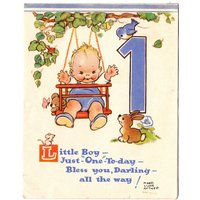 Rare Vintage 1950s Mabel Lucie Attwell First Birthday Card Cute Kid Bunny Rabbit Blue Bird Teddy Bear Mouse New Baby Greeting Card - Teddy Gifts