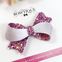 Purple Glitter Bow, Lilac Hair Bow, Purple Headband, Purple Hair Bow, Faux Leather, Baby Headband - Lilac Gifts