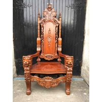 Huge Hand Carved Hardwood Lion Throne Chair - Lion Gifts
