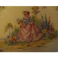 Vintage 1940s Pin Dish Lady With Pink Crinoline Dress in Garden - Seek Gifts