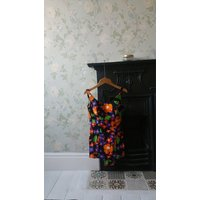 Ladies vintage 60s swimming costume 12 beach retro womens clothing black swimwear multi coloured flowers floral design Dolly Topsy Etsy UK - Swimming Gifts