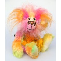 Wowzer, an exceedingly vibrant, happy and colourful, one of a kind, artist teddy bear in hand dyed mohair and faux fur by BarbaraAnn Bears - Artist Gifts