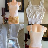 Vintage 1960s Camisole Vest French Lingerie Crop Top Lace Trim 60s Thermal Interlock Gorgeous - Lingerie Gifts