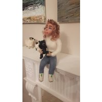 DOLLYBIRD with her teddy,needle felted  ,character doll,merino wool, hand made,wire armature, posable, collectable, artist doll. - Artist Gifts