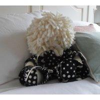 HANDMADE RAG DOLL, Black  White Spotty, Childs Room, Soft Toy 18 - Soft Toy Gifts