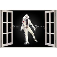 3D Window View Michael Jackson Wall Decal Sticker Frame Mural Effect Home Decor Bedroom Living Room Kitchen Bathroom Nursery 810 - Michael Jackson Gifts