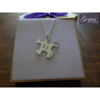 Handmade Sliver Puzzle Necklace with Initials and Heart  Chunky Silver Jigsaw Pendant  Autism Necklace - Jigsaw Gifts