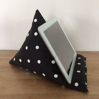 Black tablet cushion, iPad stand, spotty cushion, iPhone stand, tablet holder, kindle pilllow, gadget cushion, tablet stand - Ipad Gifts