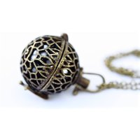 Essential Oil Diffuser Necklace Bronze Aromatherapy Diffuser Locket 3 x Lava Ball 3 x doterra Essential Oils Gift Bag Essential Oil Gift - Aromatherapy Gifts