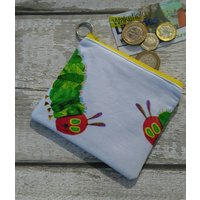 The Very Hungry Caterpillar Zipped Coin Purse, Cotton Fabric, Key Ring, Fully Lined, Birthday Gift, purse, coin pouch Ships from UK - The Very Hungry Caterpillar Gifts