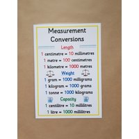 Measurement Conversions A4 Laminated poster  Numeracy, maths, teaching resource, home schooling,  learning resource, educational KS1, KS2 - Educational Gifts
