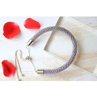 Light Grey metallic Seed beads crochet bracelet  Beaded bracelet  Seed beads rope  Bead crochet bracelet  Handmade bracelet - Handmade Gifts