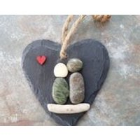 Pebble art couple sitting on driftwood on slate heart with red wooden heart, wedding, engagement, birthday, anniversary gift, home decor - Seek Gifts