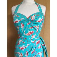 Vintage 1950s inspired Hawaiian sarong halter dress turquoise koi carp XS to XXL VLV rockabilly Viva - Hawaiian Gifts