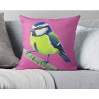 Pink  Blue Tit  Bird Lover  Cushion  Throw Cushion  Pillow  Throw Pillow  Cotton Canvas  Kirstin Wood Artist  Original Art - Artist Gifts