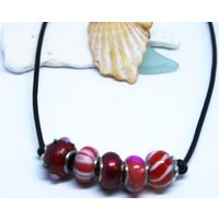Murano glass pandora style beads on leather cord necklace, beaded necklace - Pandora Gifts