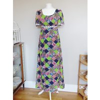 Vintage 1970s Green, Navy Blue and Floral Patterned Maxi Dress, Chest 34, Waist 28, Hips 38, Uk 10 - Floral Gifts