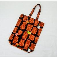 Fun tiki bag, hawaiian fabric bag, tiki head fabric bag, hula dancer girls, kitsch tiki bar, rockabilly bag, retro tiki kitsch, 50s retro - Hawaiian Gifts