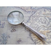 Small Vintage Magnifying Glass with Decorative Handle Recycled from Antique Cutlery Silver Plated Handle Nickel Plated Glass Lens Magnifier - Cutlery Gifts