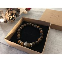 Healing bead bracelet, lion charm bracelet gift for him, boho jewellery - Lion Gifts