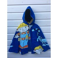 Bob the Builder fabric 1990s recycled upcycled birthday one off Super Hero Cape cat accessories childrens unisex boys girls Age 4 5 6 yrs - Bob The Builder Gifts