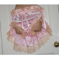 Rear skirted bustle satin panties for sissy girly boy dressing up fun , Sissy Lingerie  JS521X - Lingerie Gifts