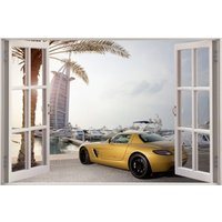 3D Window View Gold Mercedes Benz In Dubai Wall Decal Sticker Frame Mural Effect Home Decor Bedroom Living Room Kitchen Bathroom Nursery 626 - Mercedes Gifts