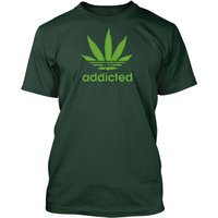 Addicted Funny Weed Pot Smoking TShirt from Retford Print. Available in 10 Colours and sizes up to 3XL. - Smoking Gifts